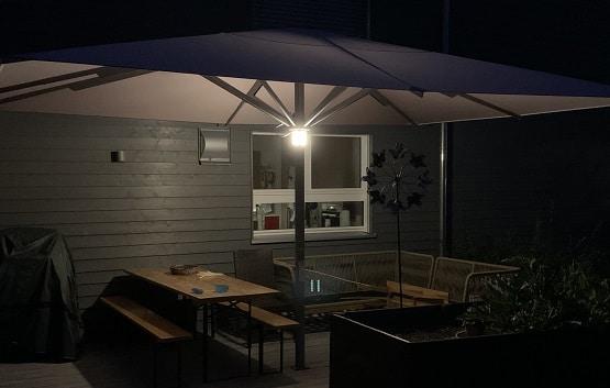 Beleuchtung Sonnenschirm Akku